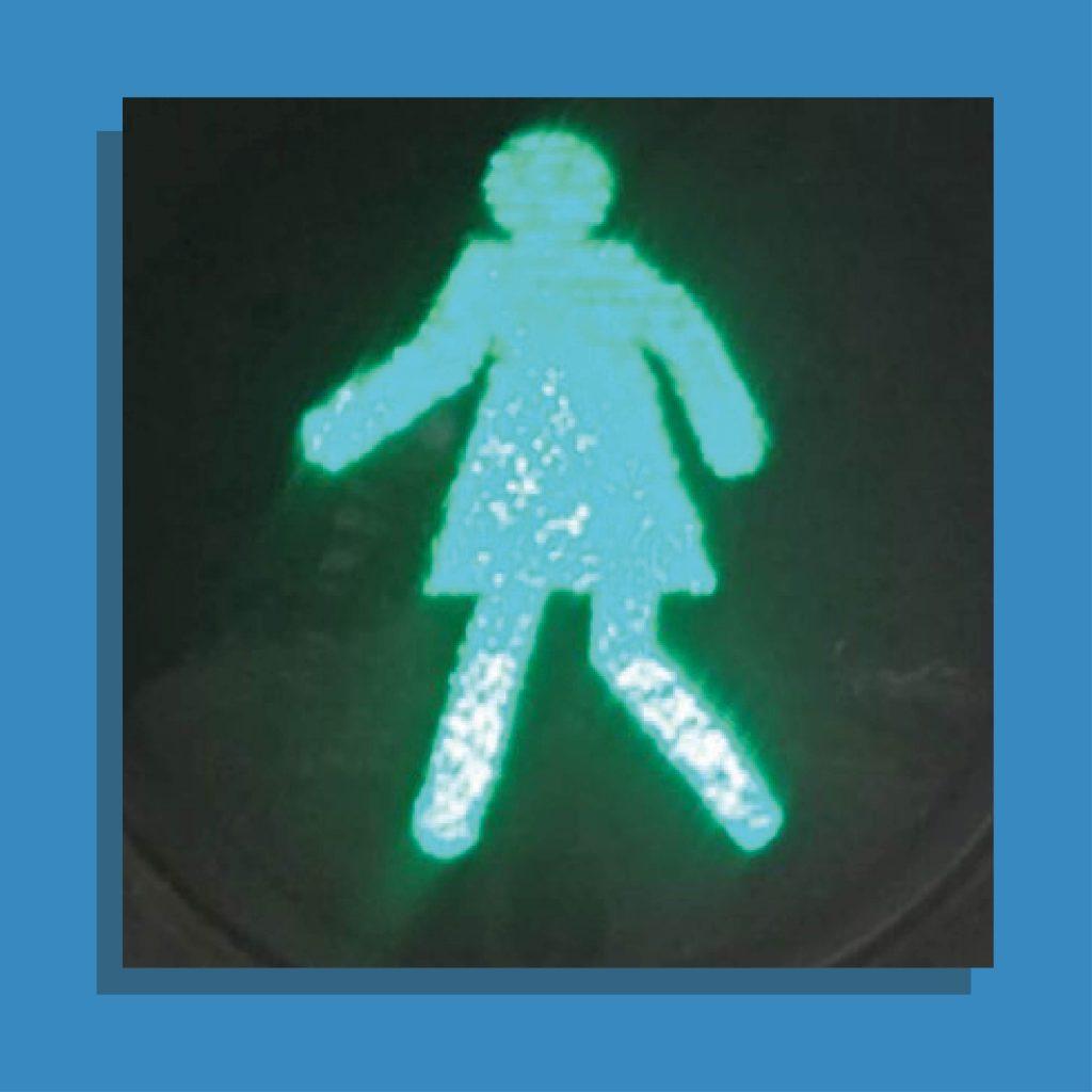 Nieuwe voetgangerslichten in India met vrouwelijke poppetjes